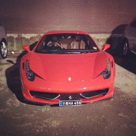 Yoson An's red Ferrari car.
