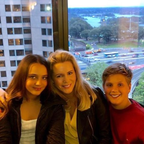 Sophie Falkiner giving a pose with her children, Isabella Grace Thomas and Jack Aston Thomas.