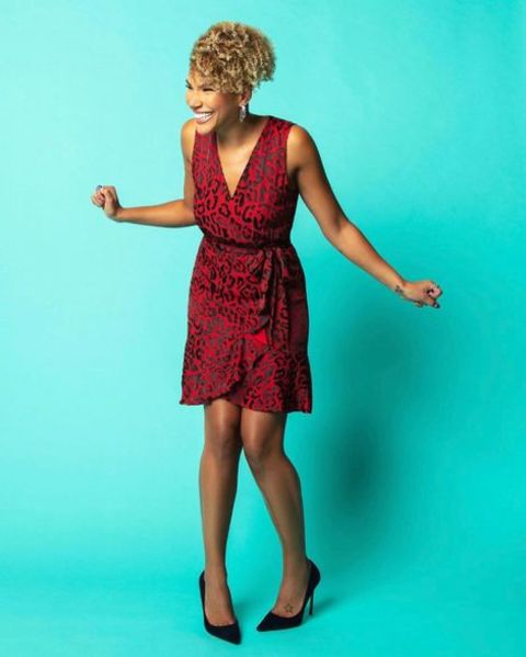 Emmy Raver-Lampman giving a pose during a photoshoot.