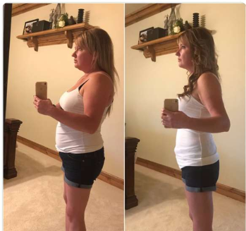 Charity Kindig in a white dress in two pictures before and after her weightloss journey.