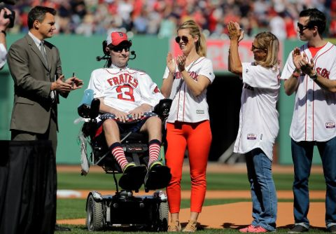 Pete Frates and his wife, Julia, at a Boston Red Sox game