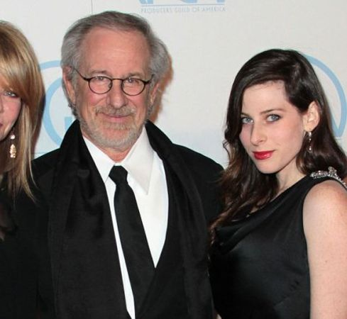 Steven Spielberg in a black suit with daughter Sasha Spielberg.