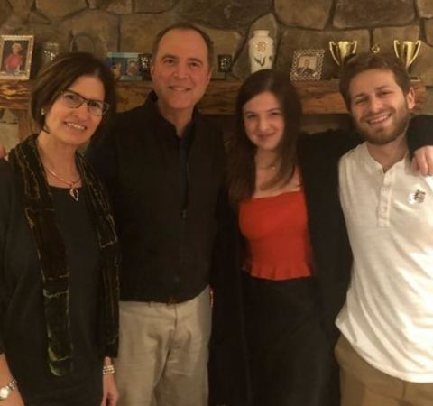 Eric Ciaramella in a white shirt with girlfriend Alexa Schiff and her family.