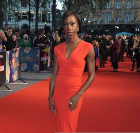 Actress, Nikki Amuka-Bird giving a pose in an event.