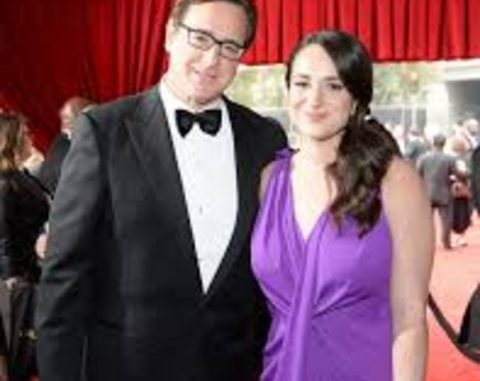 Lara Melanie Saget in purple dress with dad Bob Saget