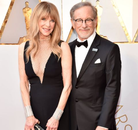 Steven Spielberg in a black tux with wife Kate Capshaw.