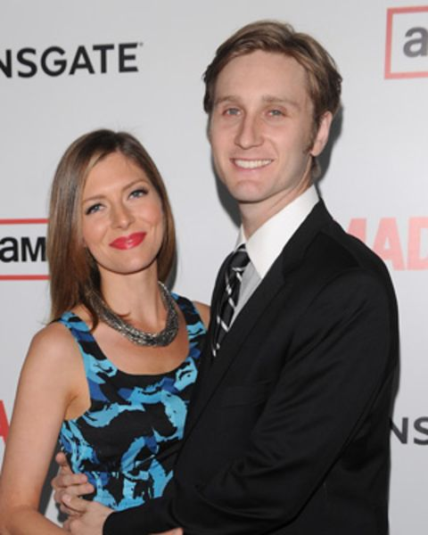 Aaron Staton posing with his wife, Connie Fletcher in an event.