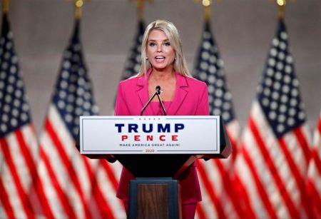 Pam Bondi delivering speech at Trump Pence