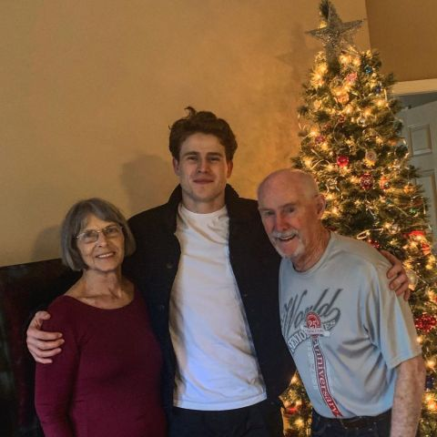 RJ Fetherstonhaugh poses a picture with her grandparents.