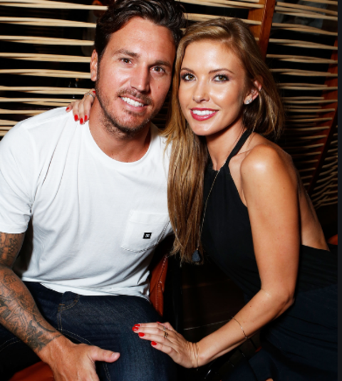 Corey Bohan and his ex-wife Audrina Patridge for a picture.