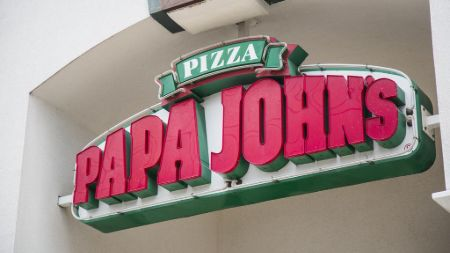 The logo of Papa John's Pizza
