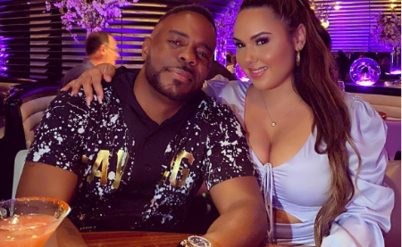 Kristinia DeBarge with her Fiancé, Adonis