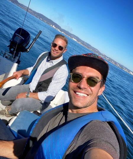 Jacob Jules Villere with his husband Peter Porte on their Yacht