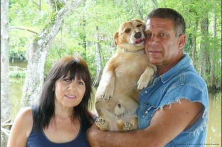 Shelby Stong with his wife, Donna, and their dog, Piss Willy