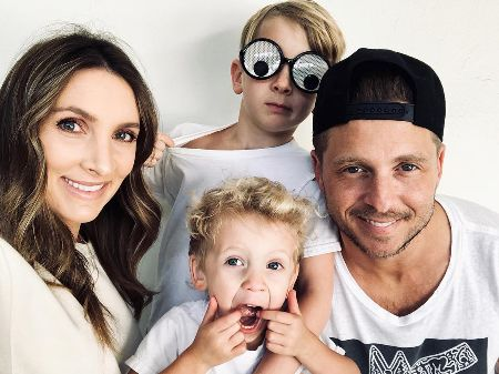 Genevieve Tedder with her husband and children.
