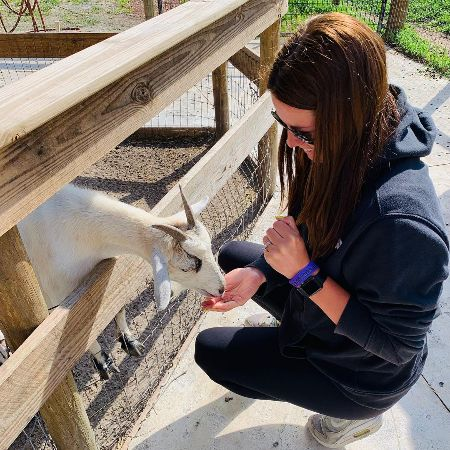 Linzey Rozon at the petting zoo.