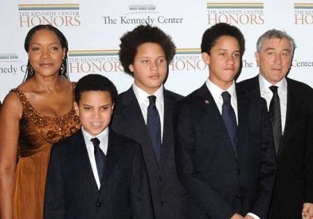 Aaron Kendrick De Niro with his family