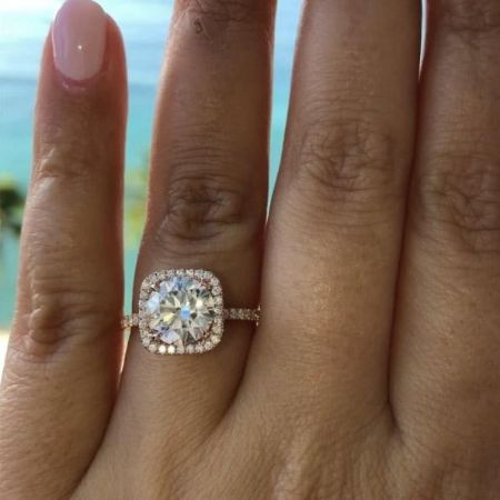 Radina Aneva wearing an engagement ring
