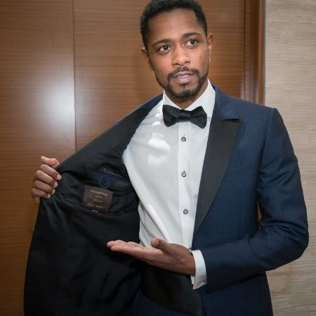 LaKeith Stanfield wearing an ethical tuxedo for the Oscars2018