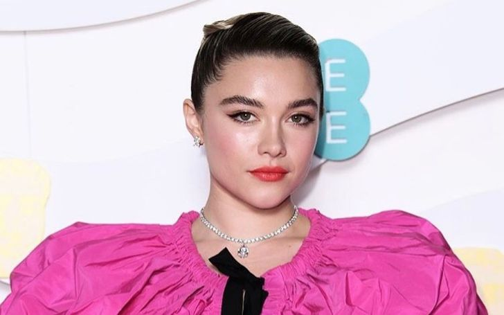 Florence Pugh in a pink dress