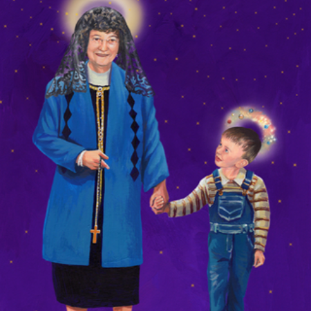 Art of Irene holdings hands with Cometan