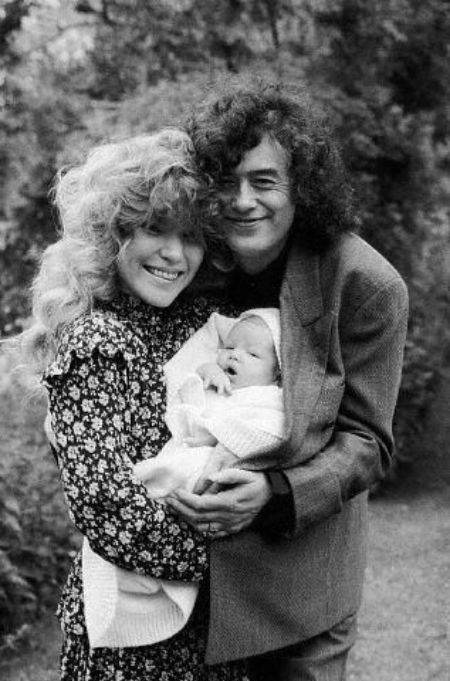 Patricia Ecker with her ex-husband Jimmy Page and their kid