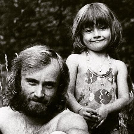 Joely Collins with her father, Phil Collins, in her childhood days.