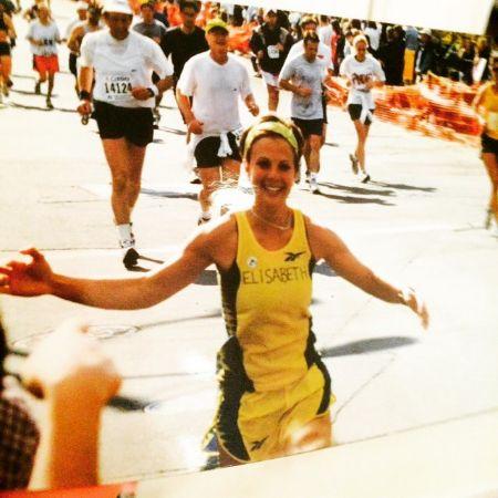 Elisabeth Hasselbeck running a Boston marathon in 1999.